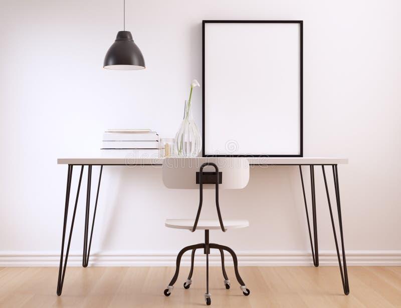 Pusta plakat rama na nowożytnym minimalistycznym wewnętrznym workspace royalty ilustracja