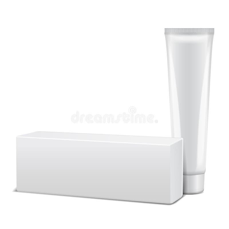 Pusta plastikowa tubka z białym pudełkiem dla medycyny lub kosmetyków - śmietanka, gel, skóry opieka, pasta do zębów Pakować mock royalty ilustracja