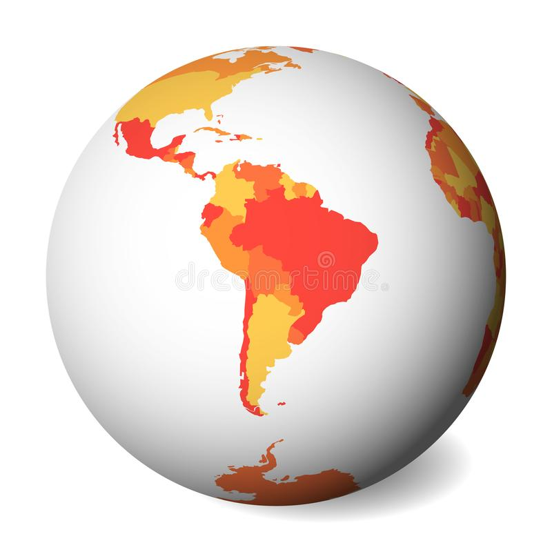 Pusta polityczna mapa Ameryka Południowa 3D ziemi kula ziemska z pomarańczową mapą również zwrócić corel ilustracji wektora ilustracja wektor