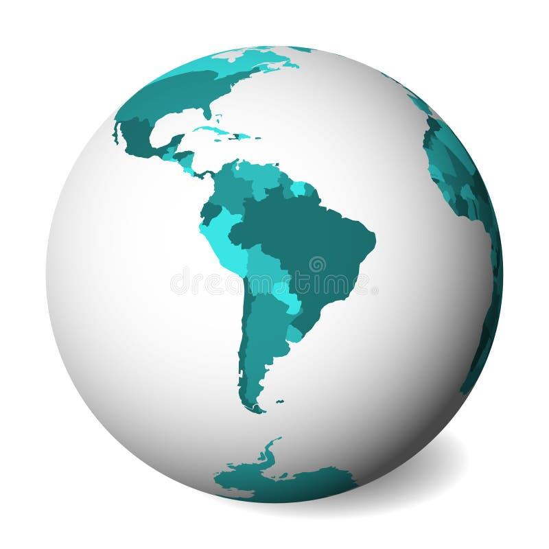 Pusta polityczna mapa Ameryka Południowa 3D ziemi kula ziemska z turkusowego błękita mapą również zwrócić corel ilustracji wektor ilustracja wektor