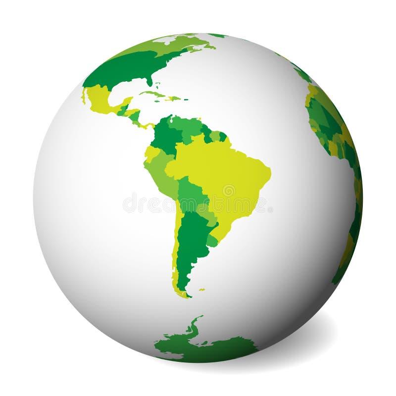 Pusta polityczna mapa Ameryka Południowa 3D ziemi kula ziemska z zieloną mapą również zwrócić corel ilustracji wektora royalty ilustracja