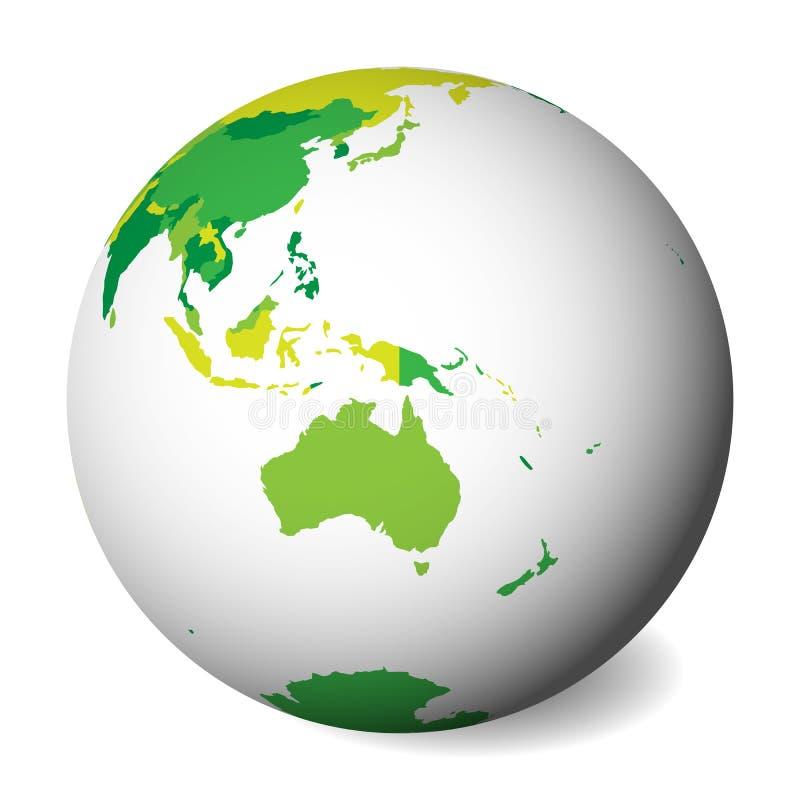 Pusta polityczna mapa Australia 3D ziemi kula ziemska z zieloną mapą również zwrócić corel ilustracji wektora royalty ilustracja