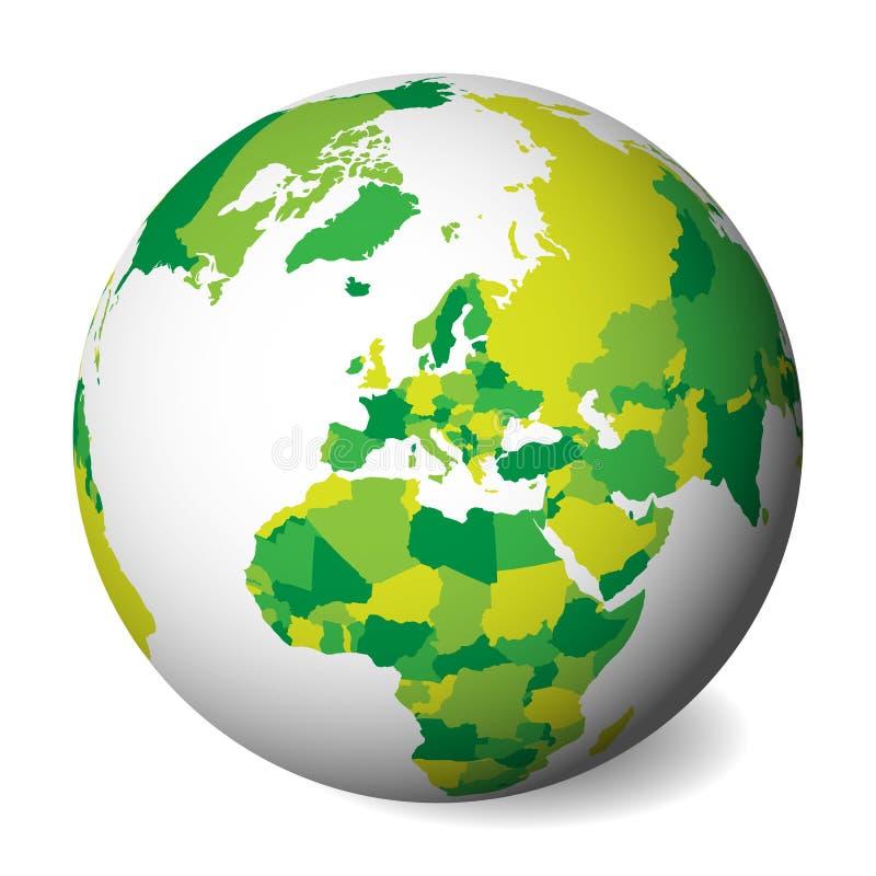 Pusta polityczna mapa Europa 3D ziemi kula ziemska z zieloną mapą również zwrócić corel ilustracji wektora ilustracji