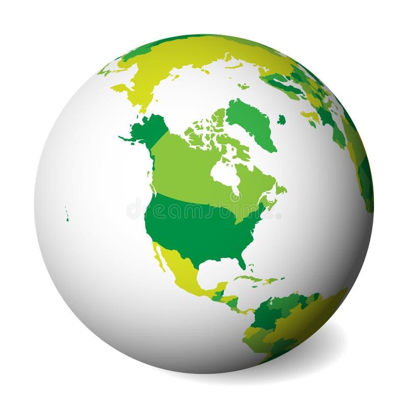 Pusta polityczna mapa Północna Ameryka 3D ziemi kula ziemska z zieloną mapą również zwrócić corel ilustracji wektora ilustracji