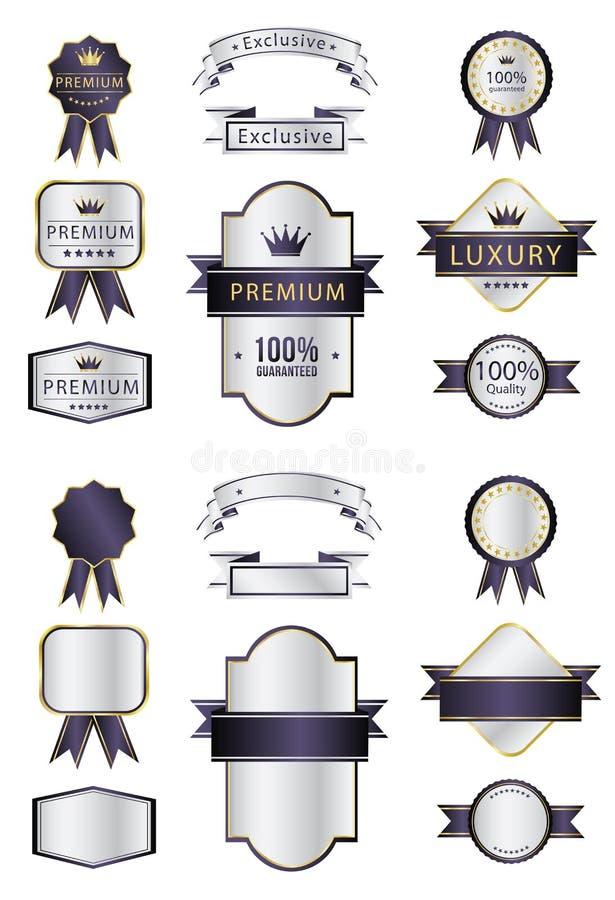 Pusta premii etykietka i rusza się luksusowe purpury i srebro ilustracji