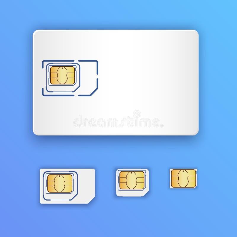 Pusta realistyczna SIM karta Set SIM karty Pełnych rozmiarów, mini, mikro i nano karty, Telefonu komórkowego układ scalony royalty ilustracja