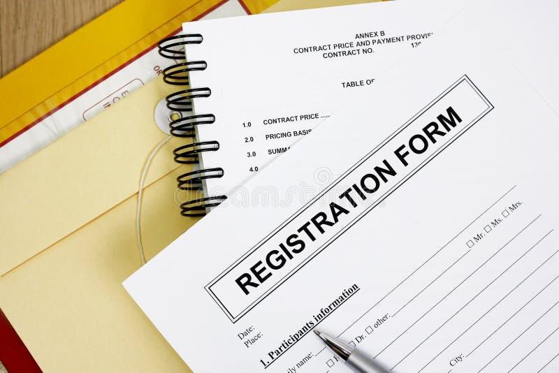 Pusta rejestracyjna forma zdjęcie royalty free