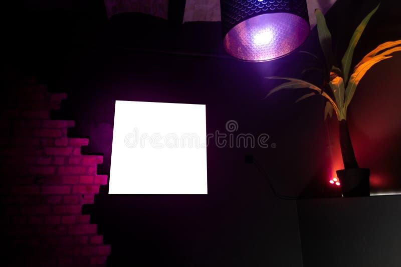 Pusta reklamy ramy przestrze? w klubie nocnym z drzewkiem palmowym zdjęcia royalty free