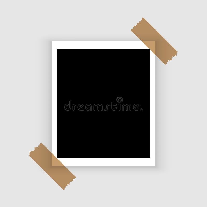Pusta retro polaroid fotografii rama nad bielem ilustracji