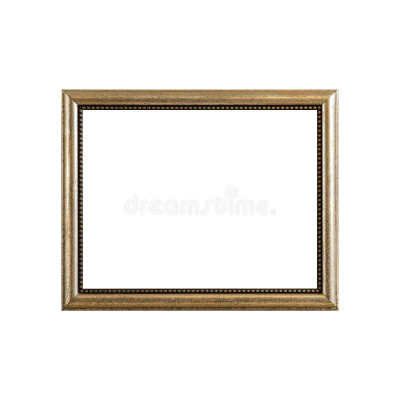 Pusta rocznik fotografii rama, drewno rama odizolowywająca na białym backgroun obraz stock