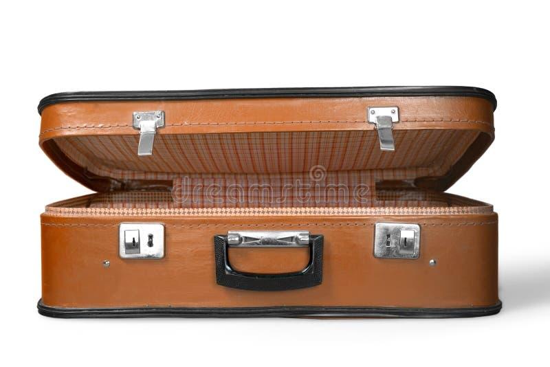 Pusta rocznik walizka na białym tle obrazy stock