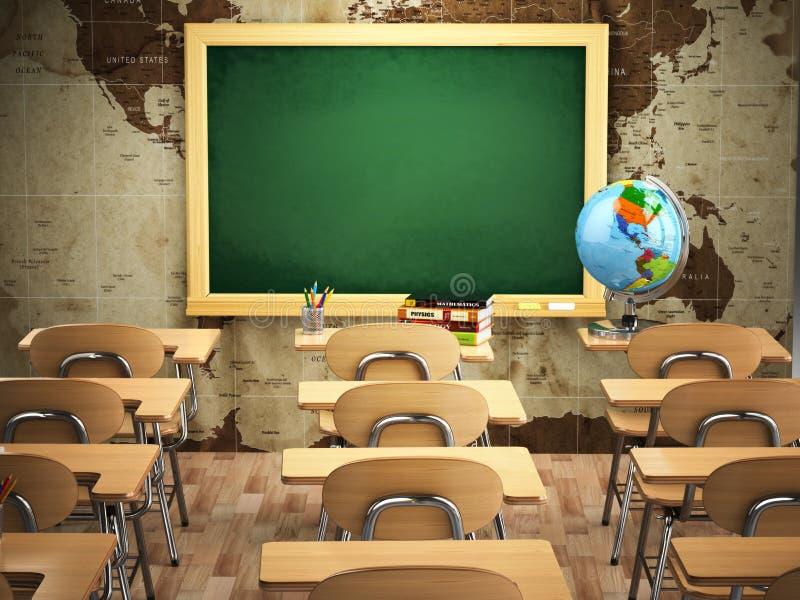Pusta sala lekcyjna z szkolnymi biurkami, krzesłami i chalkboard, royalty ilustracja