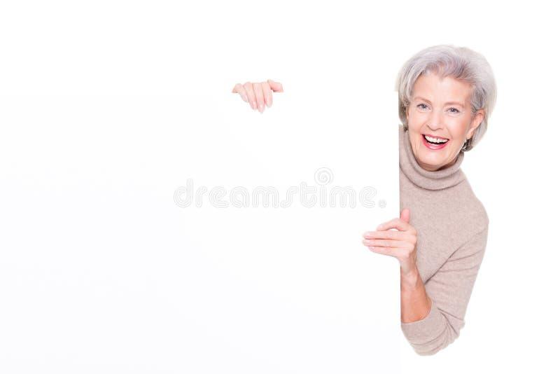 pusta seniora znaka kobieta fotografia stock