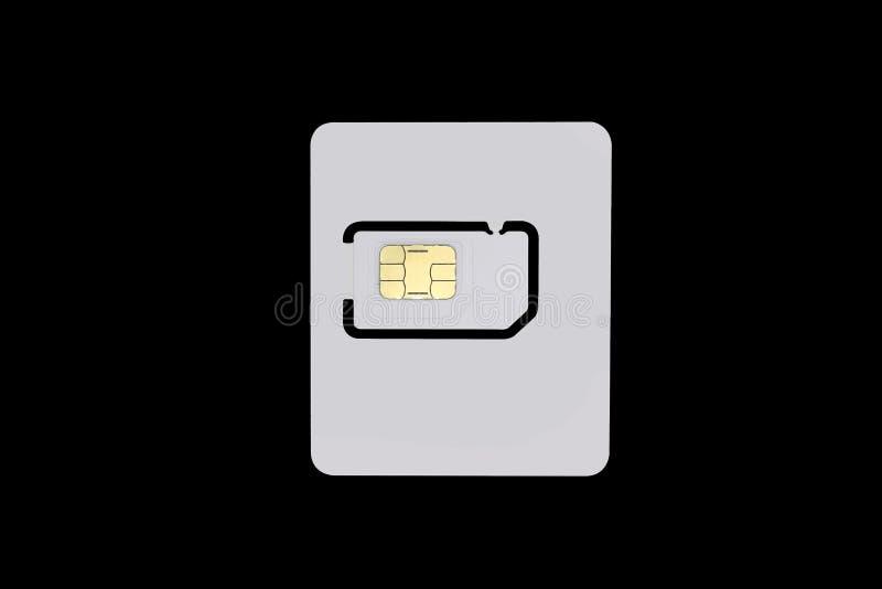 Pusta sim karta odizolowywająca na czarnym tle z ścinek ścieżką obraz stock