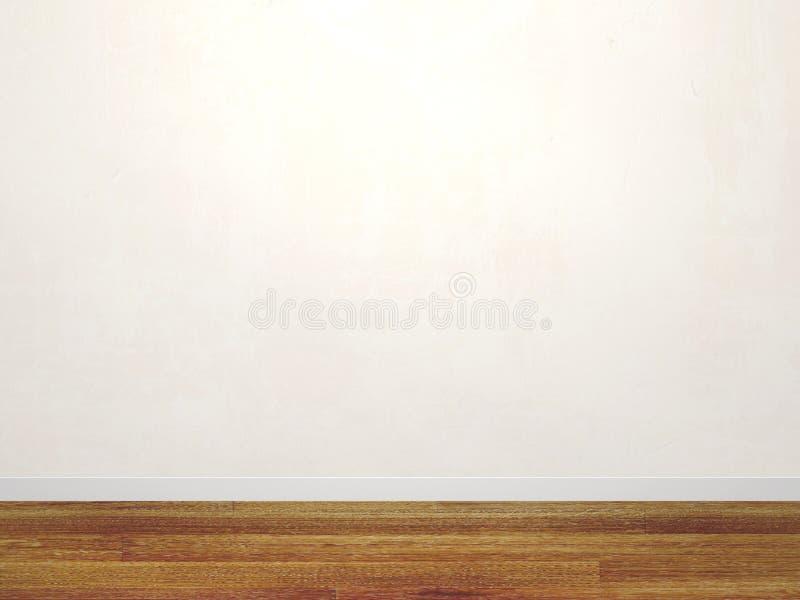 Pusta stiuk ściana biały kolor i nowa parkietowa podłoga royalty ilustracja