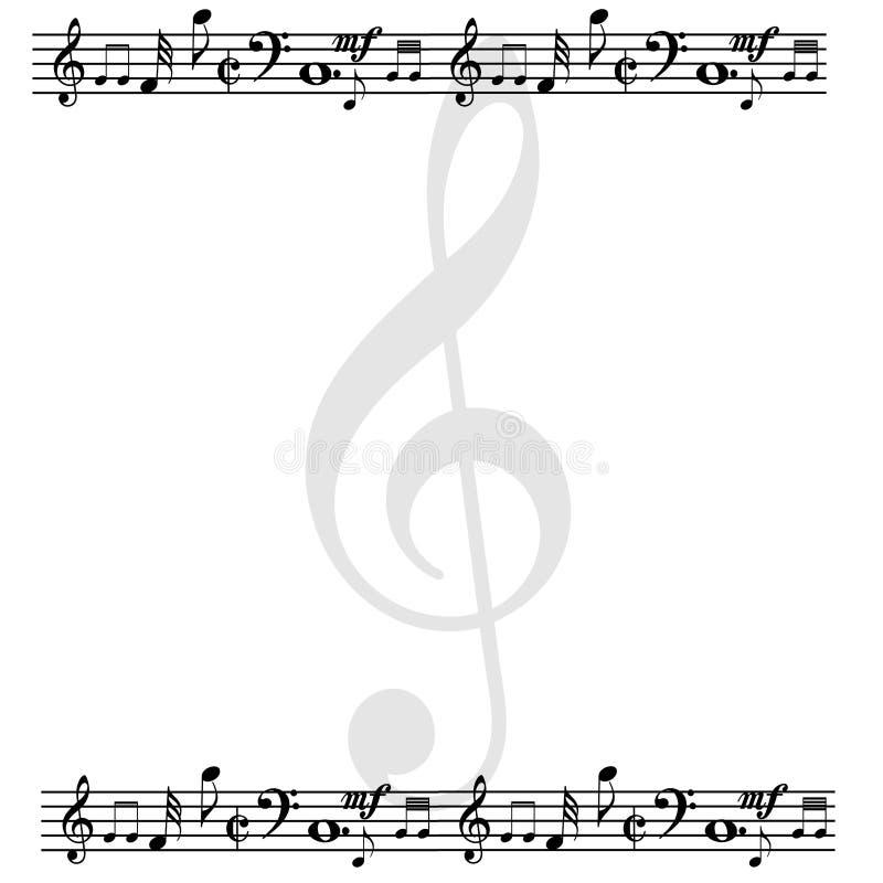 Pusta strona tworząca z muzycznymi notatkami ilustracja wektor