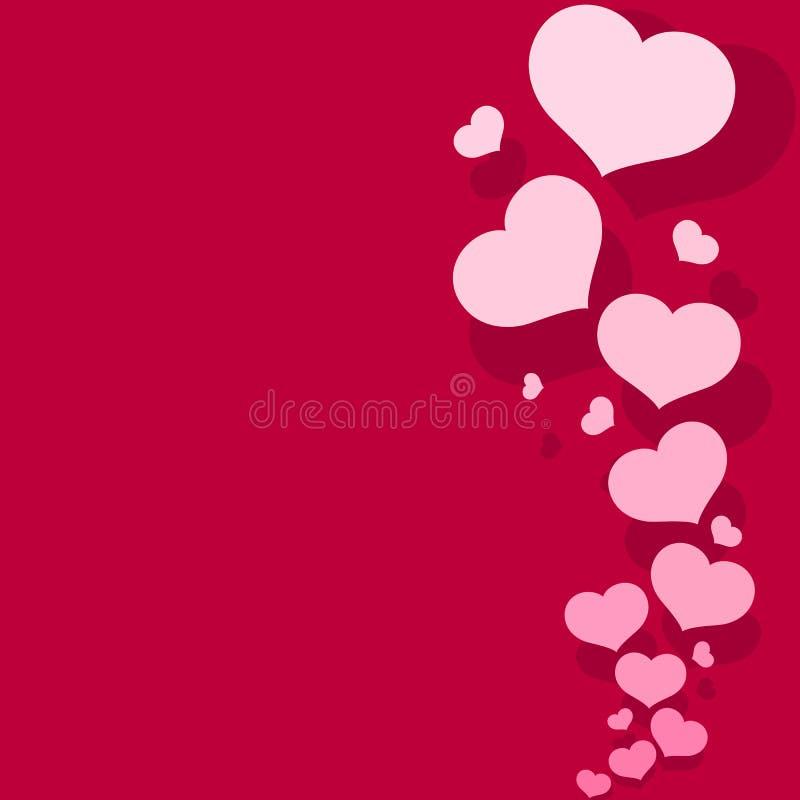 Pusta szablon karta z różowymi sercami na tło walentynki dnia romantycznego różowego wzoru dekoracyjnych sercach dla projekta o ilustracji