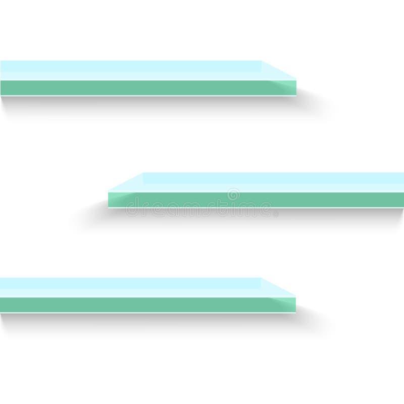 Pusta szkło sklepu półka, handel detaliczny odkłada, 3d sklepu ściennego pokazu ilustracja ilustracji