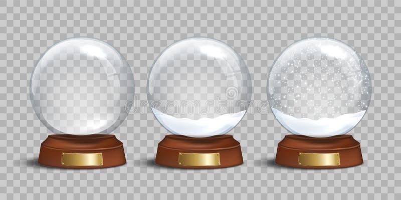 Pusta szklana śnieżna kula ziemska i śnieżne kule ziemskie z śniegiem na przejrzystym tle Wektorowy bożych narodzeń i nowego roku ilustracja wektor