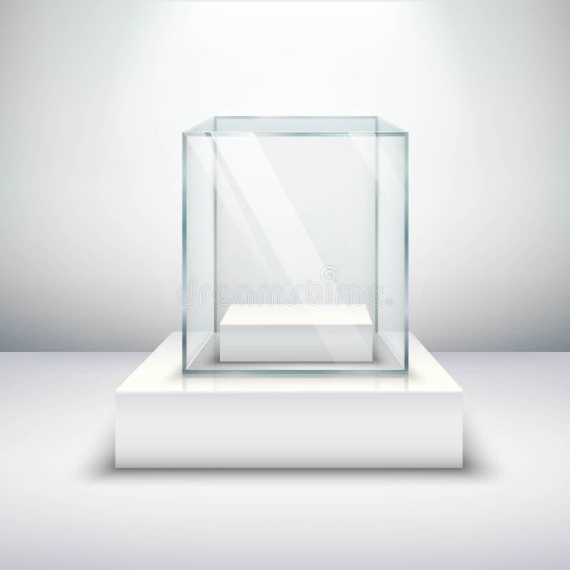 pusta szklana gablota wystawowa ilustracja wektor