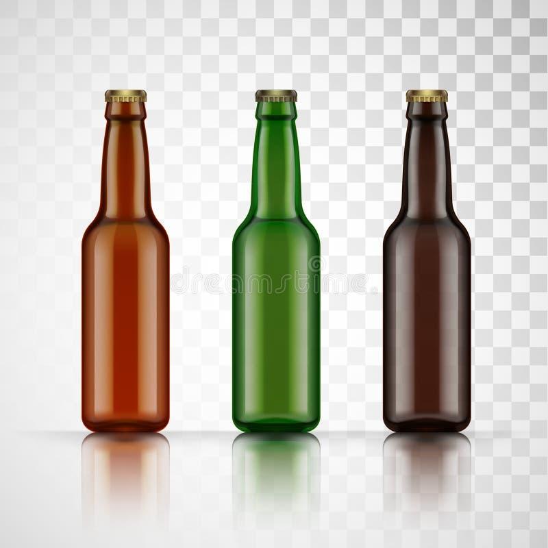 Pusta szklana piwna butelka dla nowego projekta wektor ilustracji