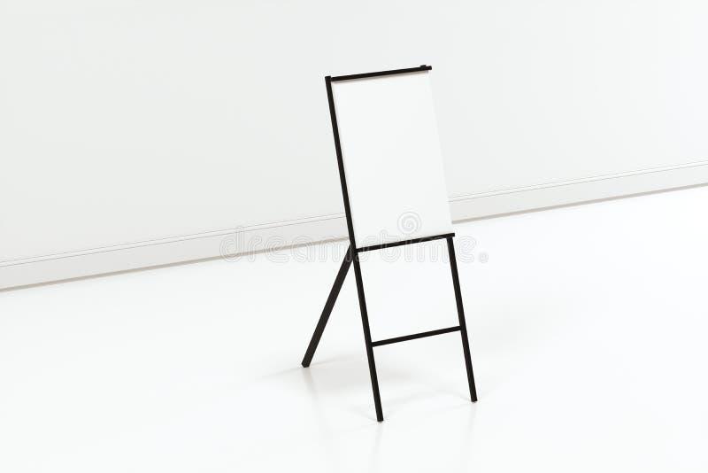 Pusta sztalugi deska z białym tłem, 3d rendering ilustracji