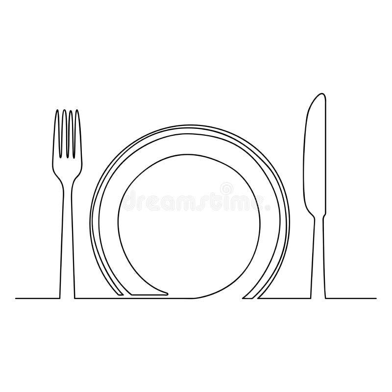 Pusta talerza i noża jeden kreskowa Wektorowa ilustracja ilustracji