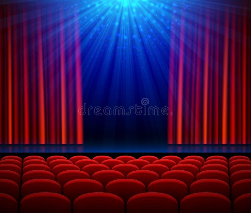 Pusta teatr scena z czerwoną otwarcie zasłoną, światłem reflektorów i siedzeniami, ilustracji