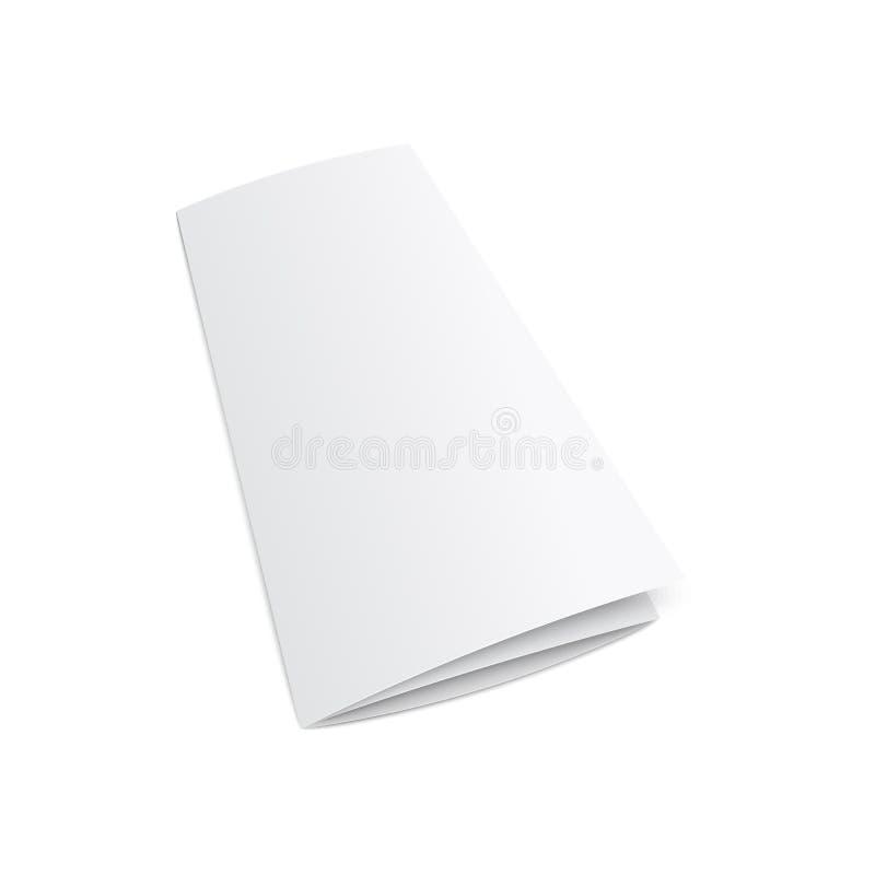 Pusta trifold broszurki lub ulotki 3d mockup wektorowa ilustracja odizolowywająca royalty ilustracja