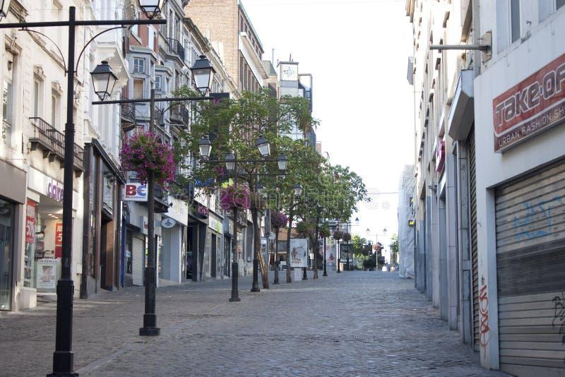 Pusta ulica w Charleroi obrazy royalty free