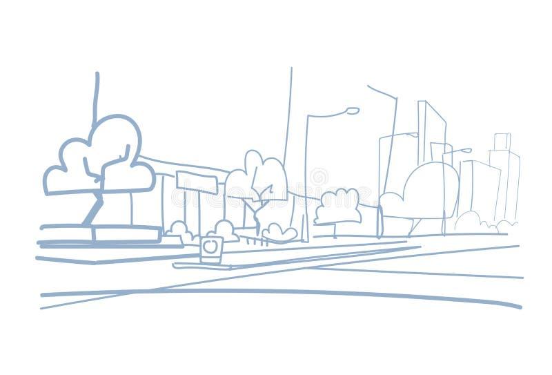 Pusta uliczna nowożytna ręka rysujący miasta drapacz chmur budynków widoku pejzażu miejskiego nakreślenia doodle stylowy horyzont ilustracja wektor