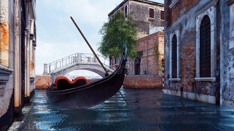Pusta venetian gondola na wodnym kanale w Wenecja ilustracja wektor