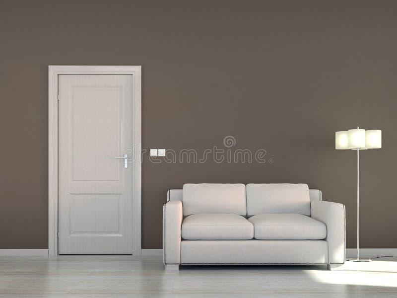 Pusta wewnętrzna scena z kanapą i brown drzwi royalty ilustracja