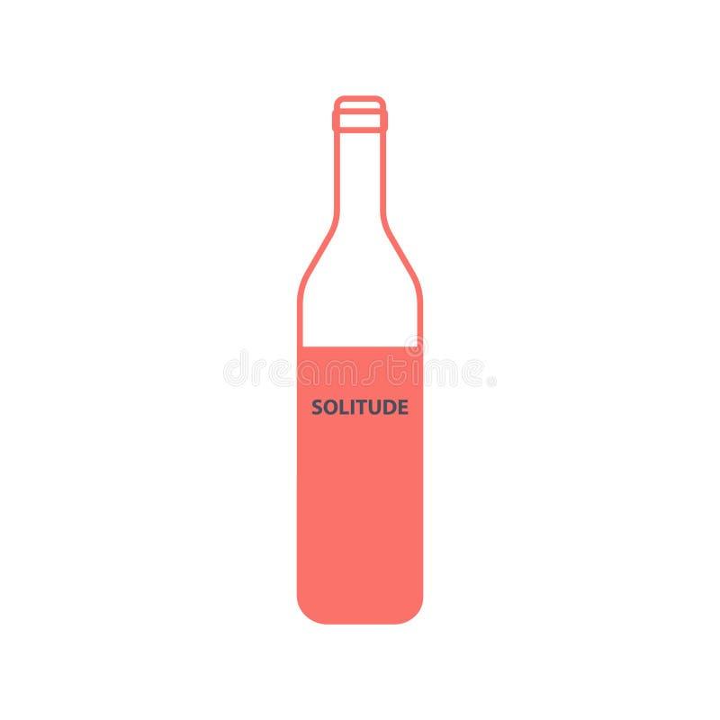 Pusta wino butelka z wpisow? samotno?ci? w liniowym stylu ilustracji