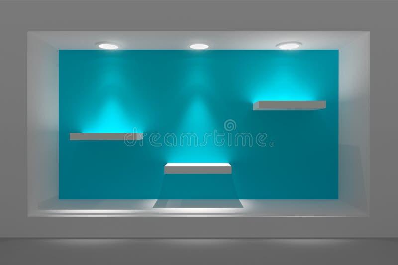 Pusta witryna sklepowa lub podium z oświetleniem i dużym okno ilustracja wektor