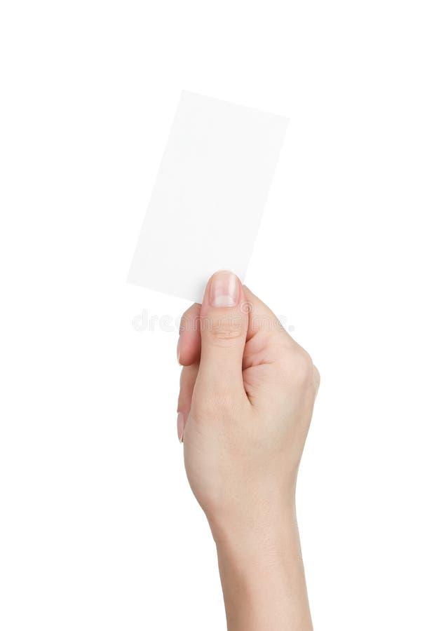 pusta wizytówki ręki s kobieta fotografia royalty free