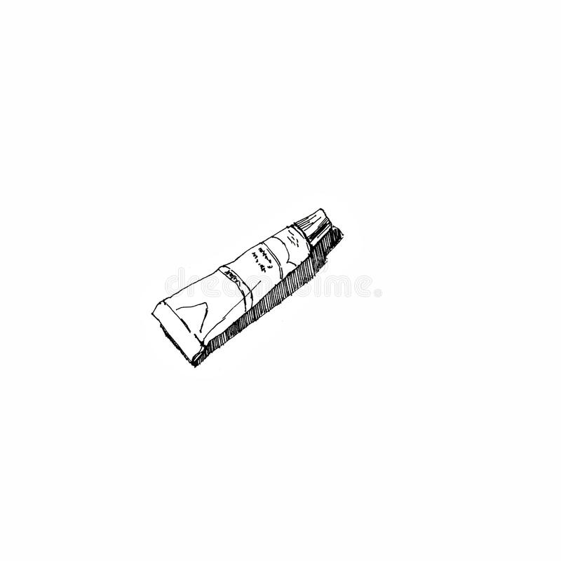 Pusta zamknięta creme słoju paczka odizolowywająca Sztuka materiały Konturu atramentu ręka rysujący obrazek szkicowy royalty ilustracja