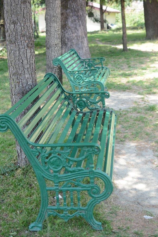 Puste ławki w parku obrazy royalty free