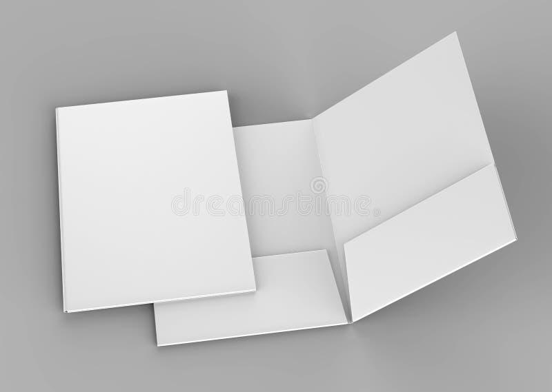 Puste białe zbrojone kieszeniowe falcówki na popielatym tle dla egzaminu próbnego up świadczenia 3 d ilustracji
