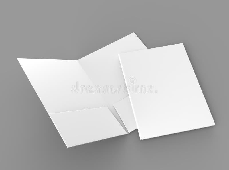 Puste białe zbrojone kieszeniowe falcówki na popielatym tle dla egzaminu próbnego up świadczenia 3 d ilustracja wektor