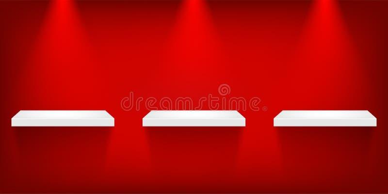 Puste biel półki pod punktów światłami odizolowywającymi na czerwonym tle rabatowy bobek opuszczać dębowego faborków szablonu wek ilustracja wektor