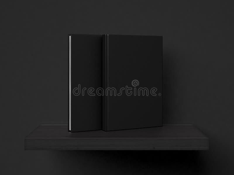 Puste czarne książki na półce świadczenia 3 d royalty ilustracja