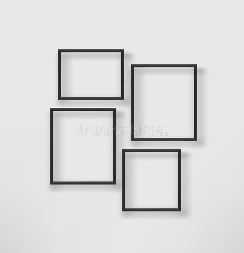 Puste czerni ramy na białej ścianie ilustracji