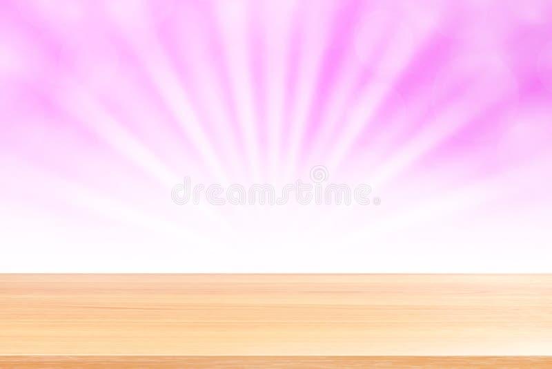 Puste drewno stołu podłoga na miękkich części menchii bokeh świateł promieniu błyszczą gradientowego tło, drewniana deska pusta n zdjęcia royalty free
