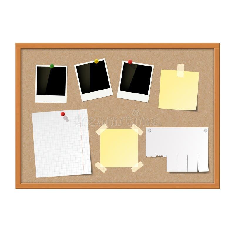 Puste fotografii ramy, papier notatki i żółci majchery, dołączali royalty ilustracja
