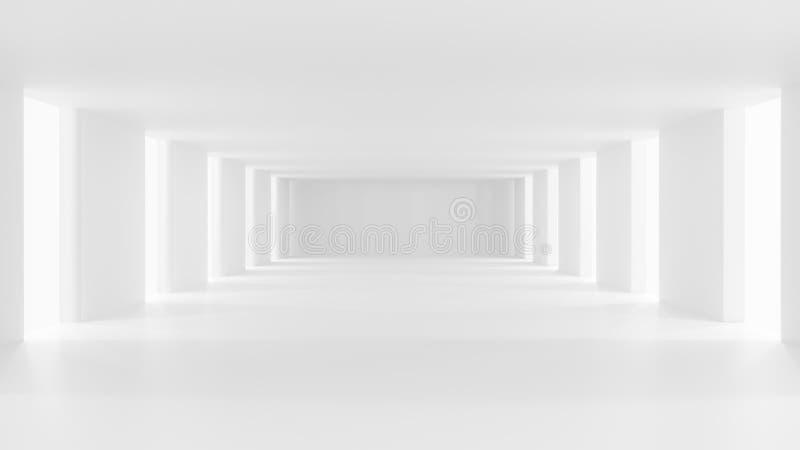 Puste korytarze w białych pomieszczeniach royalty ilustracja