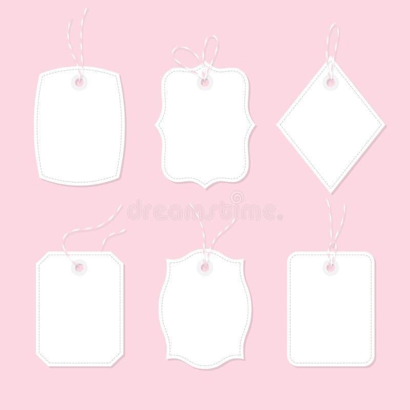 Puste metki i prezent karty wiązać up z dratwy ribb i łękami ilustracja wektor