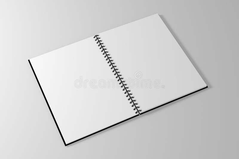 Puste miejsce ślimakowatego notatnika pusty szablon na czystym białym tle ilustracja wektor