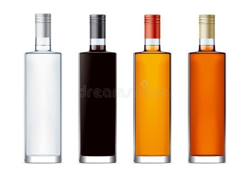 Puste miejsce butelki dla alkoholów napojów ilustracji
