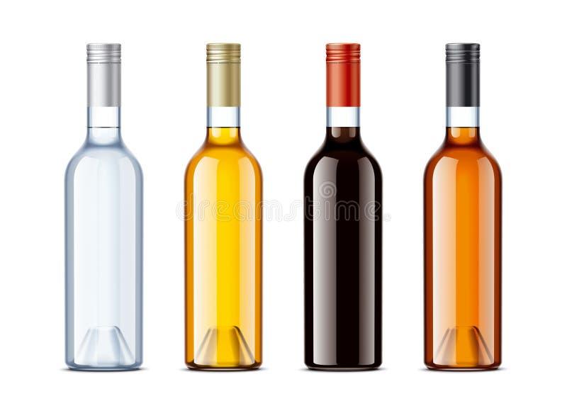 Puste miejsce butelki dla alkoholów napojów royalty ilustracja